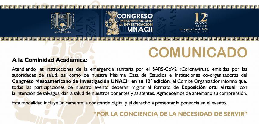 12 CONGRESO MESOAMERICANO DE INVESTIGACIÓN UNACH 2020