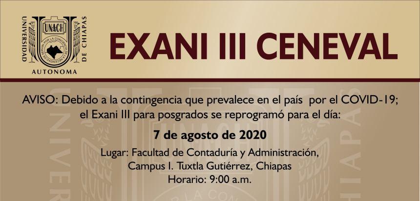 APLICACIÓN DE EXANI III CENEVAL: 7 DE AGOSTO DE 2020